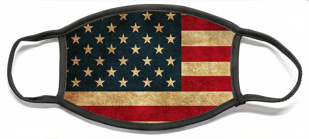 United States American Usa Flag Vintage Distressed Finish On Worn Canvas Face Mask featuring the mixed media United States American USA Flag Vintage Distressed Finish on Worn Canvas by Design Turnpike