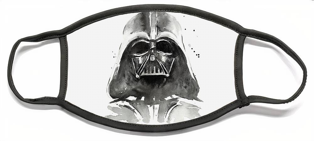 Watercolor Face Mask featuring the painting Darth Vader Watercolor by Olga Shvartsur