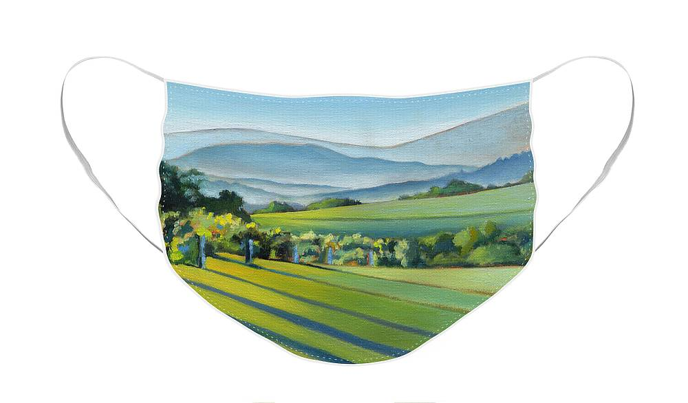 Twomey Face Mask featuring the painting Vineyard Blue Ridge on Buck Mountain Road Virginia by Catherine Twomey