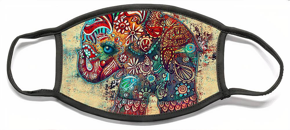 Elephant Mask Face Mask featuring the painting Vintage Elephant by Karin Taylor