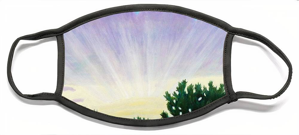 Skyscape Face Mask featuring the painting Visionary Sky by Brian Commerford