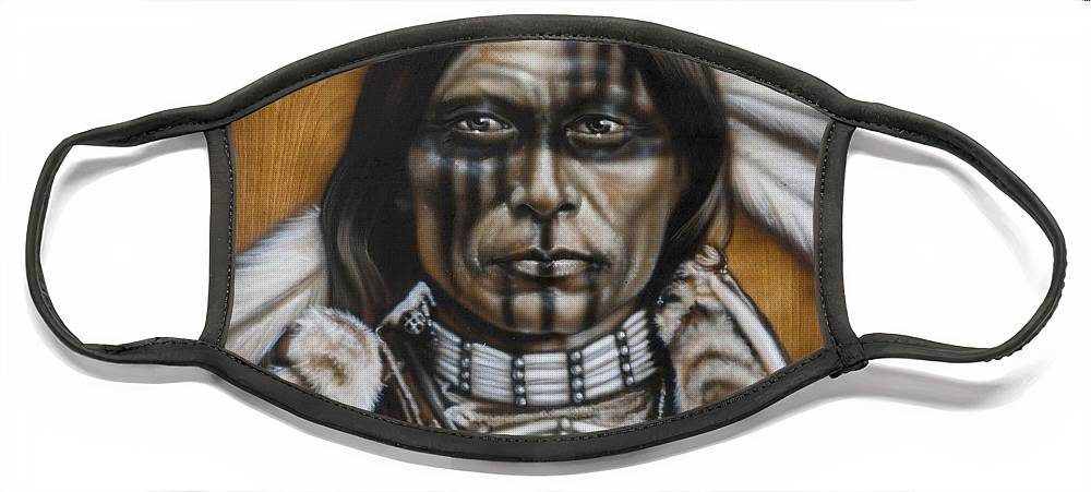 Native American Face Mask featuring the painting Warpaint by Timothy Scoggins