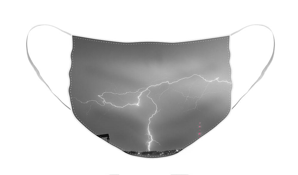 Lightning Face Mask featuring the photograph Weld County Dacono Oil Fields Lightning Thunderstorm BWSC by James BO Insogna
