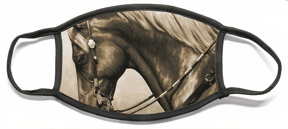 Horse Face Mask featuring the painting Western Horse Painting In Sepia by Crista Forest