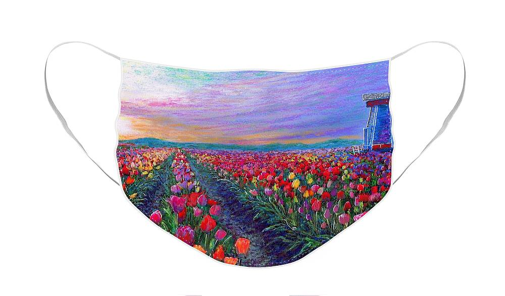 Landscape Face Mask featuring the painting Tulip Fields, What Dreams May Come by Jane Small