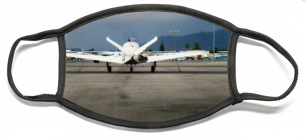 Aviation Face Mask featuring the photograph What fly girl is dreaming about by De La Rosa Concert Photography