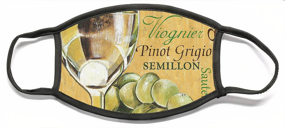 Wine Face Mask featuring the painting White Wine Text by Debbie DeWitt