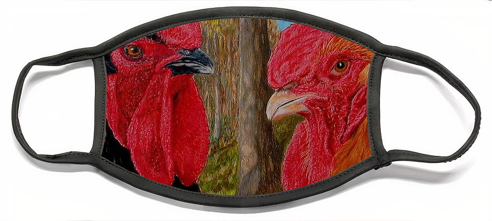 Roosters Face Mask featuring the painting Who You Calling Chicken by Karen Ilari