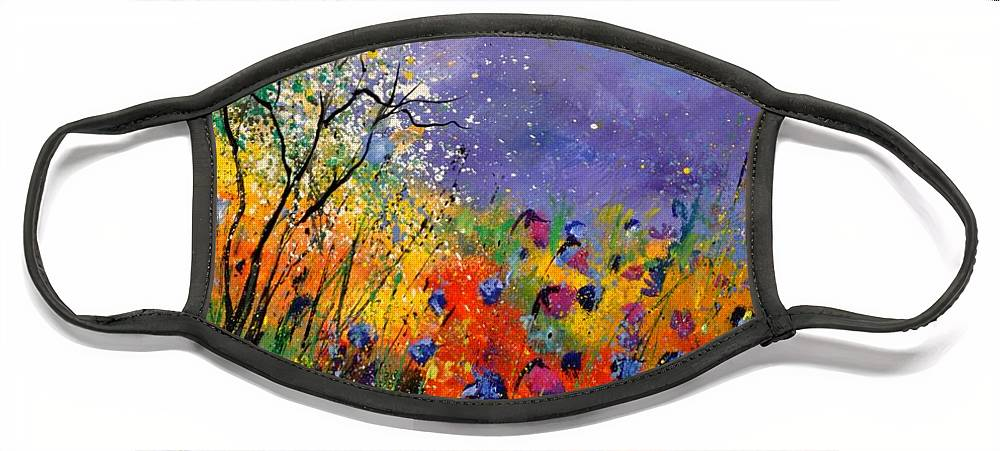 Landscape Face Mask featuring the painting Wild Flowers 4110 by Pol Ledent