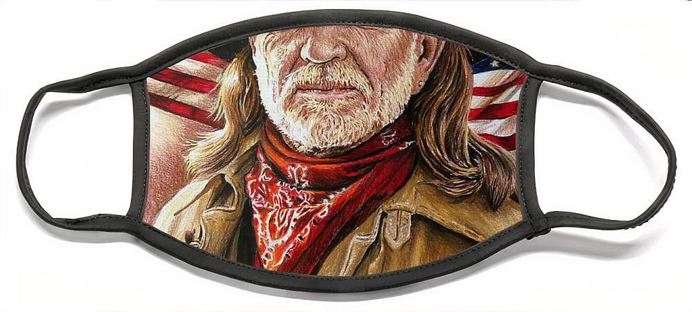 Willie Nelson Face Mask featuring the painting Willie Nelson American Legend by Andrew Read