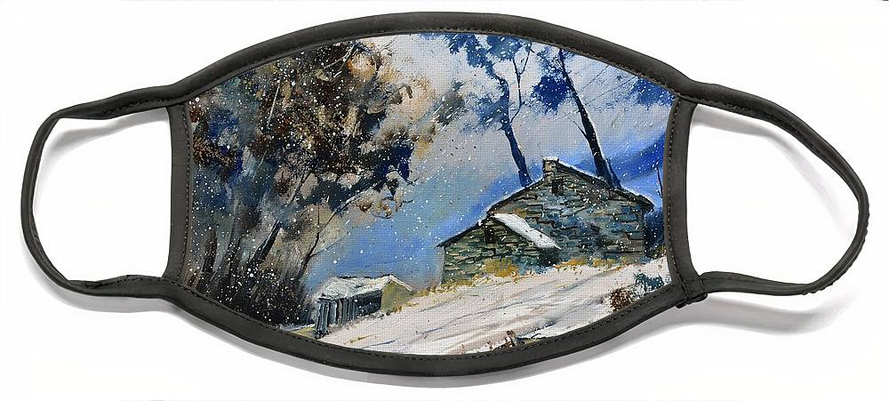 Landscape Face Mask featuring the painting Winter 655120 by Pol Ledent