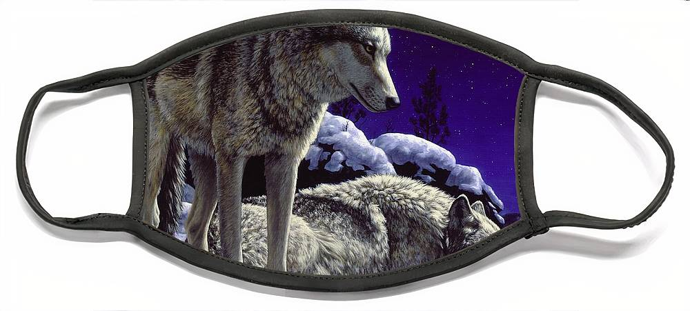 Wolf Face Mask featuring the painting Wolf Painting - Night Watch by Crista Forest