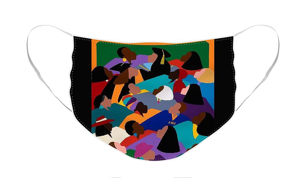 Women Face Mask featuring the painting Women Lifting Their Voices by Synthia SAINT JAMES