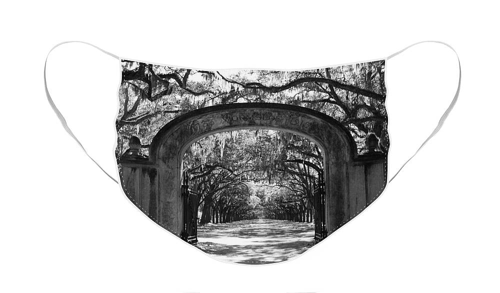 Savannah Face Mask featuring the photograph Wormsloe Plantation Gate - Black and White 2X3 by Carol Groenen