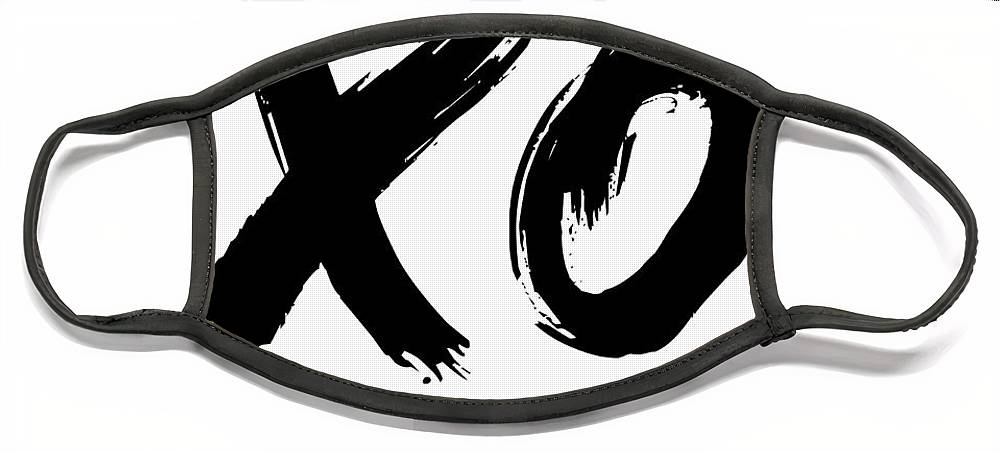 Motivational Face Mask featuring the digital art XO Poster White by Naxart Studio