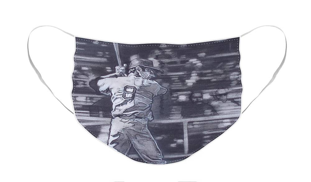 Charcoal On Paper Face Mask featuring the drawing Yaz - Carl Yastrzemski by Sean Connolly