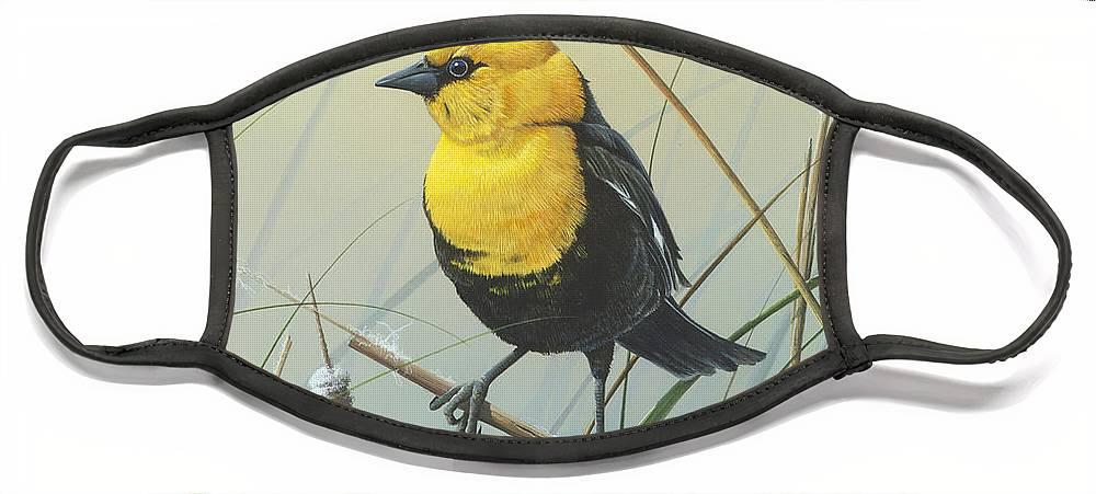 Yellow-headed Black Bird Face Mask featuring the painting Yellow-headed Black Bird by Mike Brown