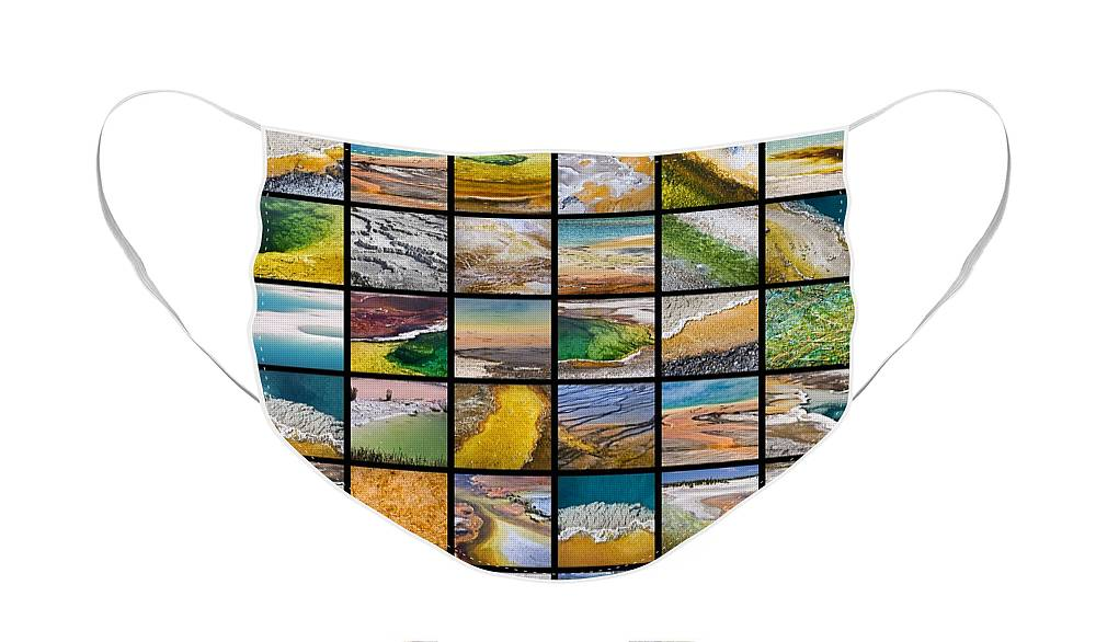 Yellowstone Face Mask featuring the photograph Yellowstone colors by Delphimages Photo Creations