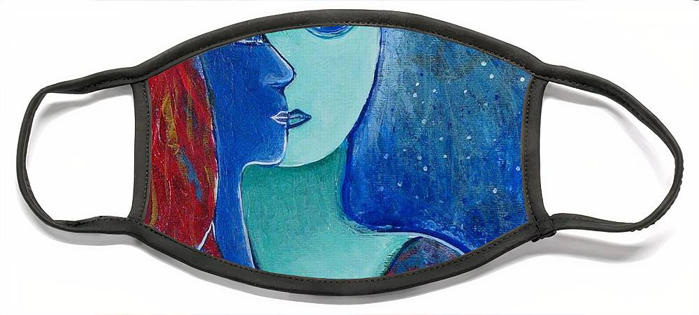 Lovers Face Mask featuring the painting You and Me II by Rollin Kocsis