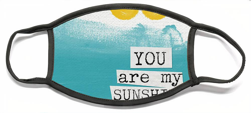 Love Face Mask featuring the painting You Are My Sunshine- abstract mod art by Linda Woods