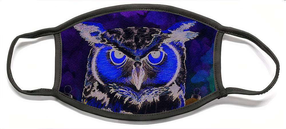 Owl Face Mask featuring the painting 2011 Dreamy Horned Owl Negative by Lilibeth Andre