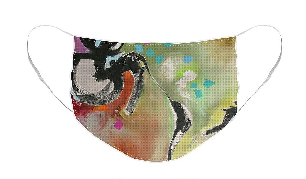 Painting Face Mask featuring the painting A Day Filled With Surprises by Linda Monfort