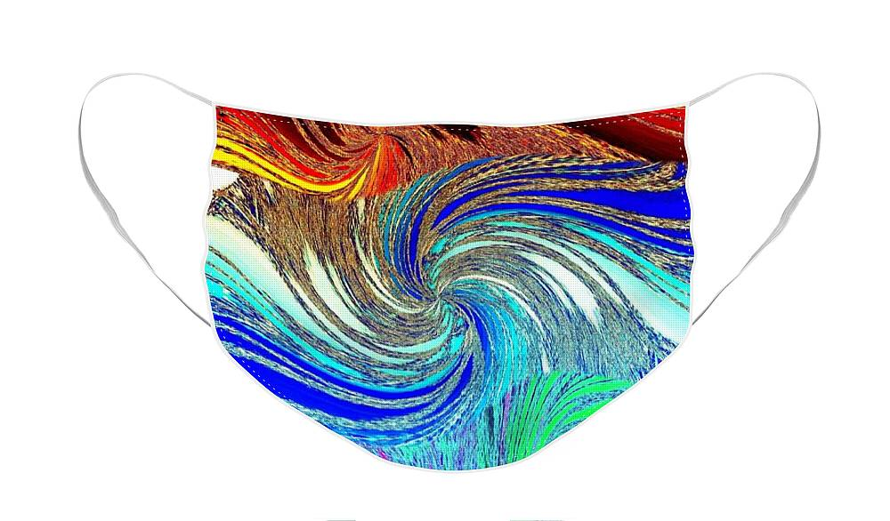 Abstract Fusion Face Mask featuring the digital art Abstract Fusion 159 by Will Borden