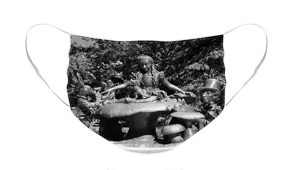 Central Park Face Mask featuring the photograph ALICE IN WONDERLAND in CENTRAL PARK in BLACK AND WHITE by Rob Hans