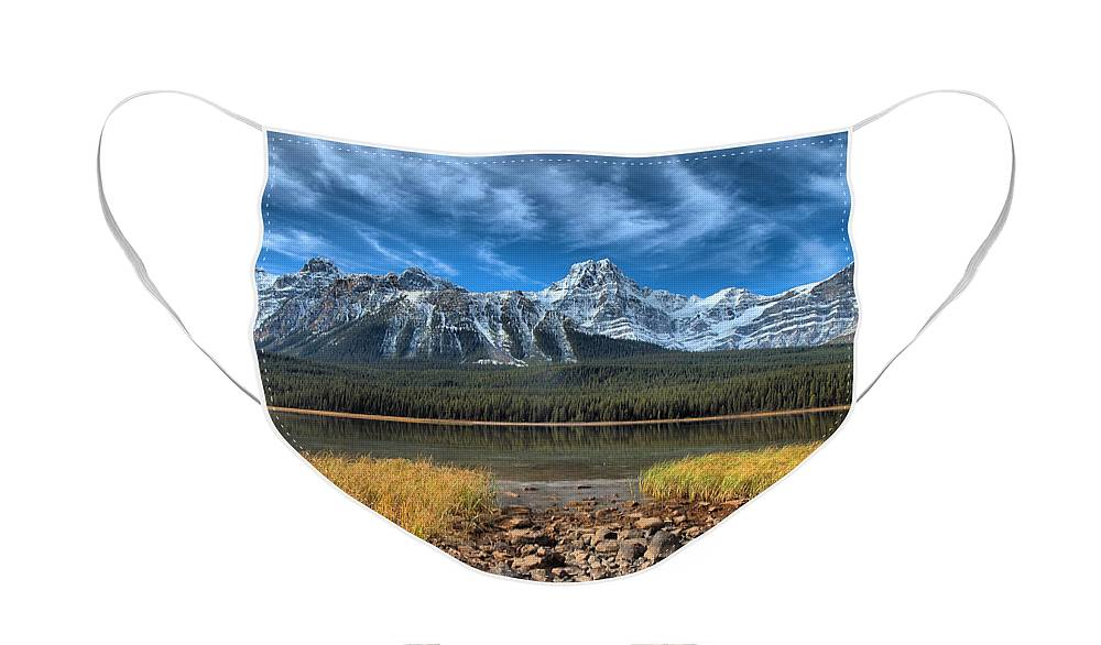 Banff Face Mask featuring the photograph Blue Skies and Snowy Mountain Tops by Tara Turner