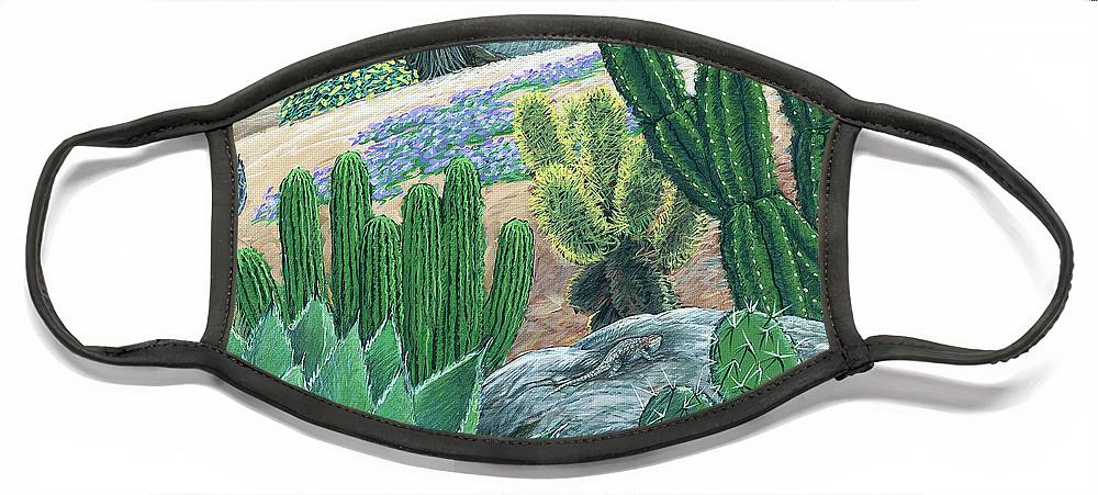 Cactus Face Mask featuring the painting Cactus Garden by Snake Jagger