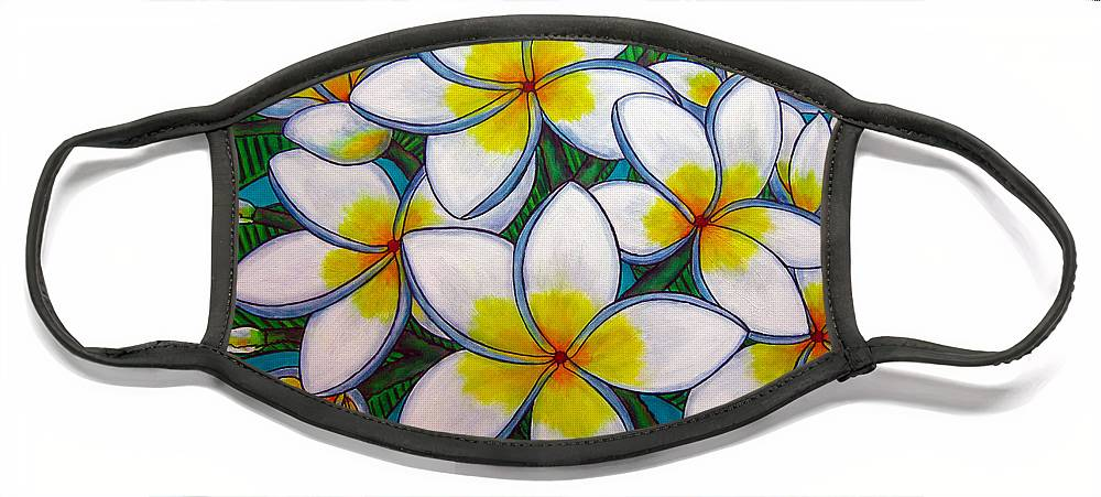 Frangipani Face Mask featuring the painting Caribbean Gems by Lisa Lorenz