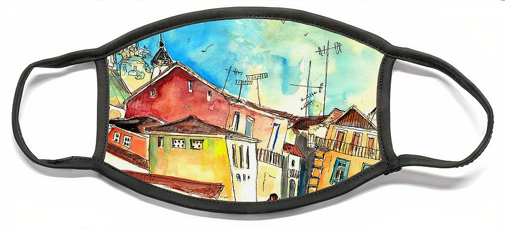 Portugal Face Mask featuring the painting Chaves in Portugal 02 by Miki De Goodaboom