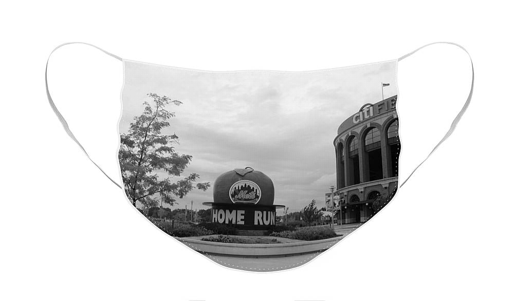 Shea Stadium Face Mask featuring the photograph CITI FIELD in BLACK AND WHITE by Rob Hans