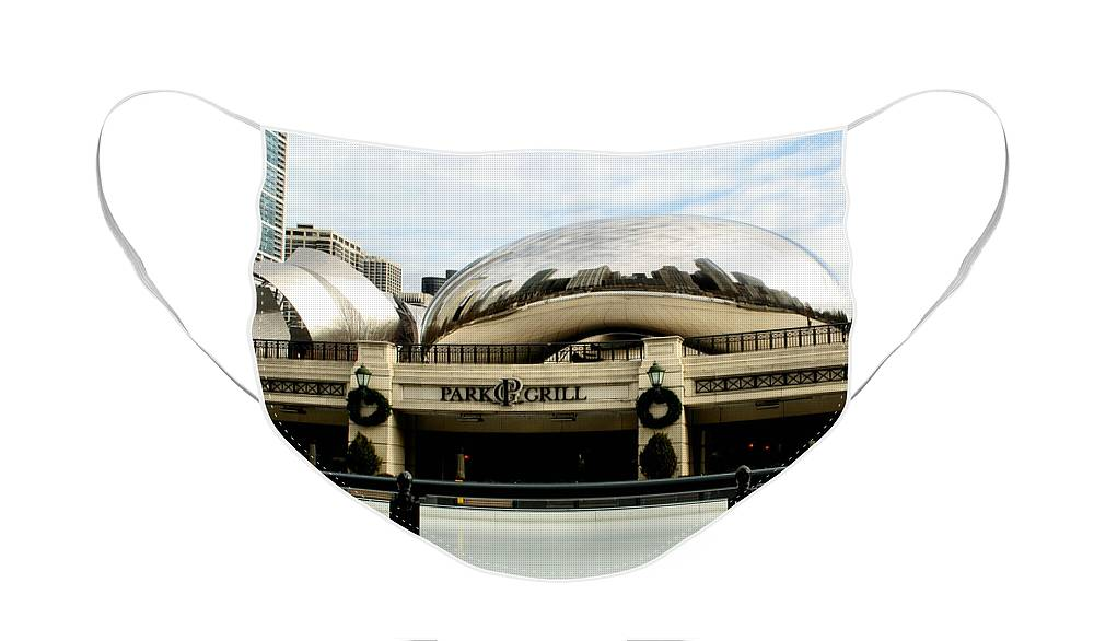 Chicago Face Mask featuring the photograph Cloud Gate - 2 by Ely Arsha