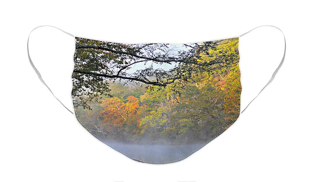 Fall Colors Face Mask featuring the photograph Current River Fall 44r by Marty Koch