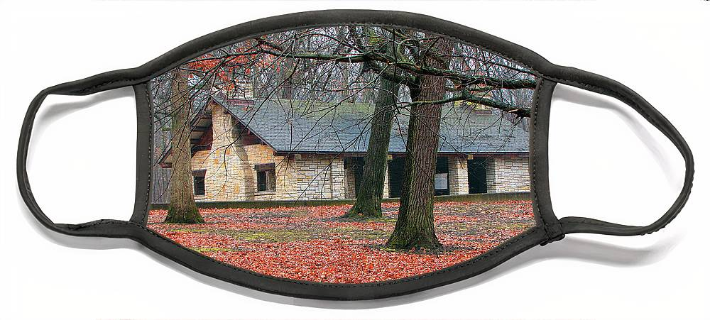 Architecture Face Mask featuring the photograph Forest Field House 1 by Cedric Hampton