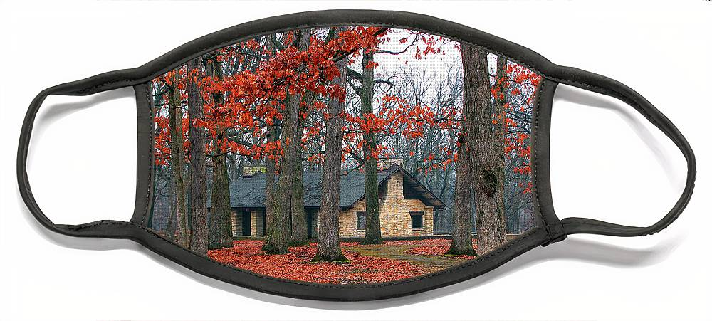 Architecture Face Mask featuring the photograph Forest Field House 2 by Cedric Hampton