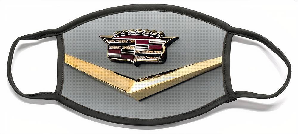 Cadillac Face Mask featuring the digital art Gold Badge Cadillac by Douglas Pittman