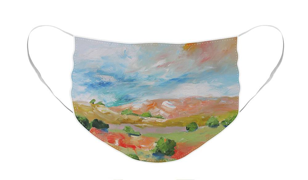 Painting Face Mask featuring the painting Good Morning World by Linda Monfort
