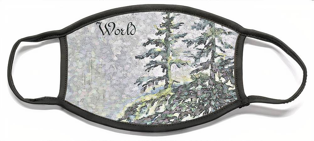 Christmas Trees Face Mask featuring the digital art Joy to the World by Jo Smoley