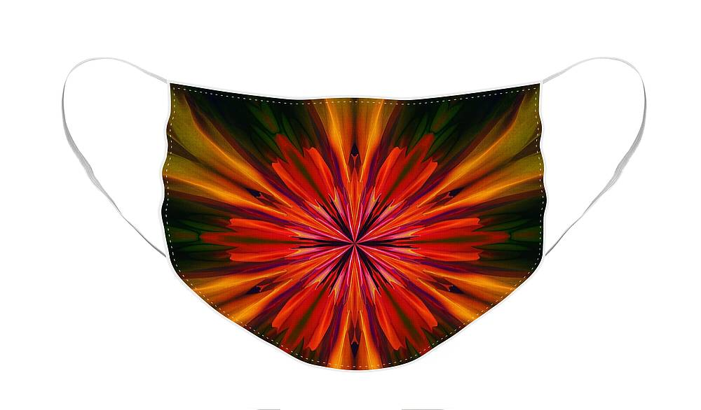 Kaleidoscope Face Mask featuring the digital art Kaleidoscope Floral 121011 by David Lane