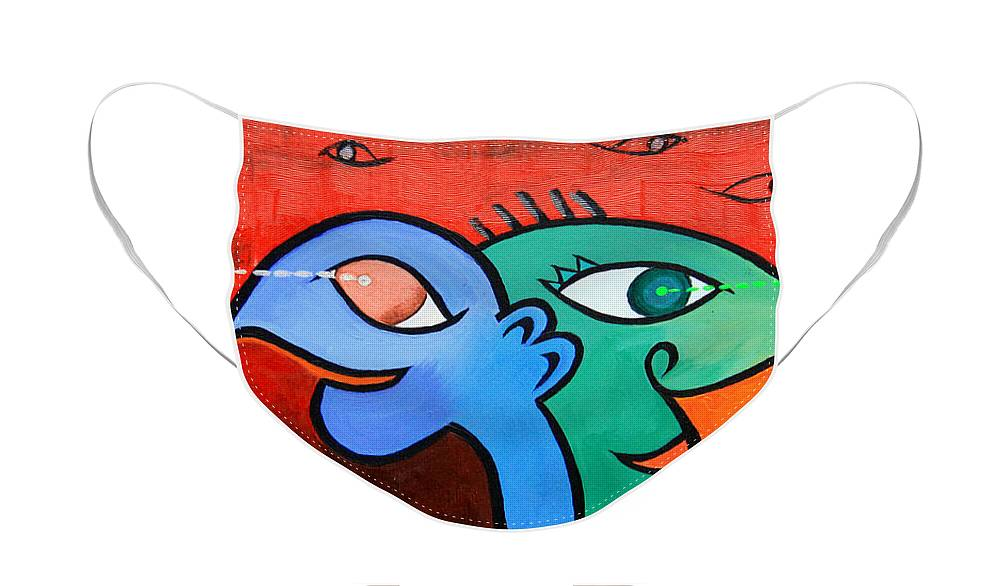 Cartoon Face Mask featuring the painting Lessons Learned by Paul Anderson
