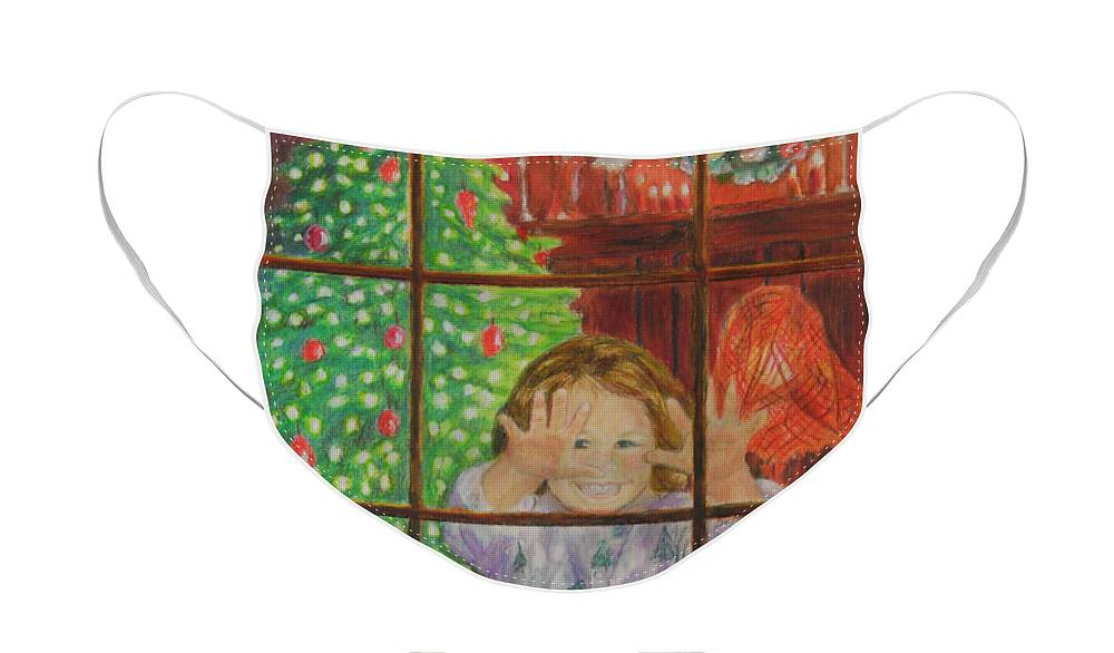 Christmas Card Face Mask featuring the drawing Looking for Santa by Quwatha Valentine