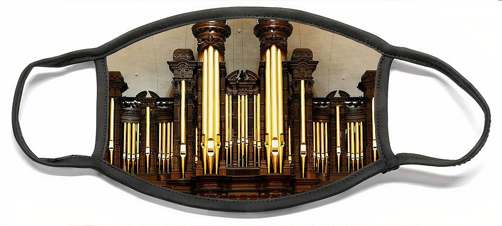 Mormon Face Mask featuring the photograph Mormon Tabernacle Pipe Organ by Marilyn Hunt