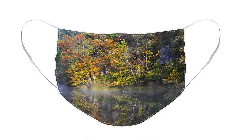 Fall Colors Face Mask featuring the photograph Mysty Morn on the Current by Marty Koch