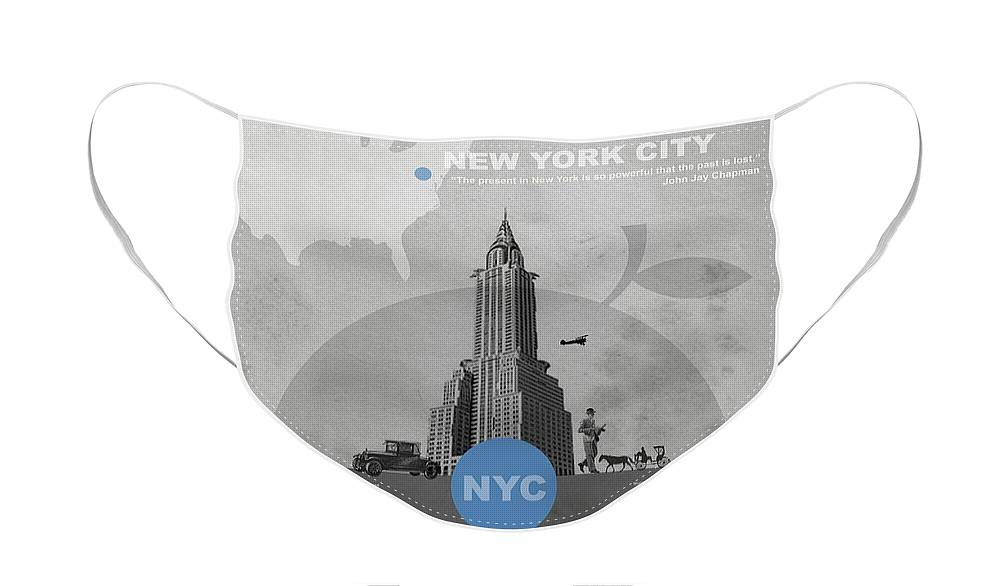 New York Face Mask featuring the photograph NYC Poster by Naxart Studio