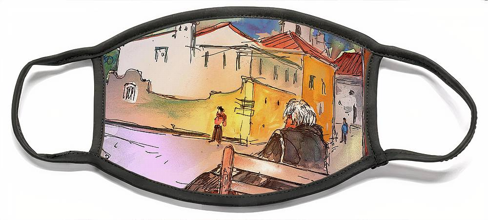 Portugal Face Mask featuring the painting Old and Lonely in Portugal 07 by Miki De Goodaboom