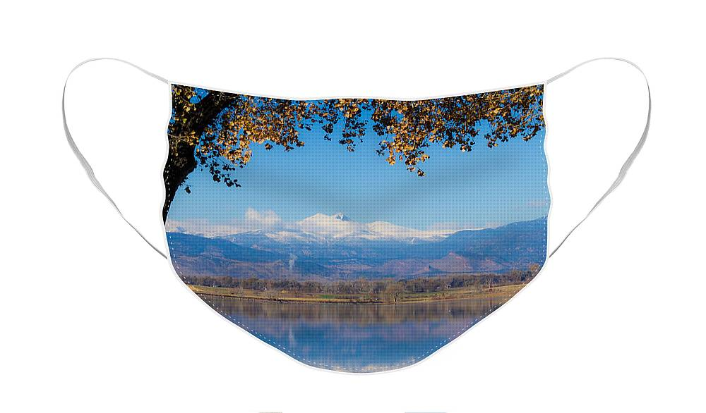 Lake Face Mask featuring the photograph Reflections of Longs Peak by James BO Insogna