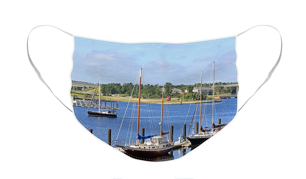 Boats Face Mask featuring the photograph Side by Side III by Suzanne Gaff