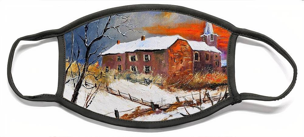 Landscape Face Mask featuring the painting Snow In Houyet by Pol Ledent